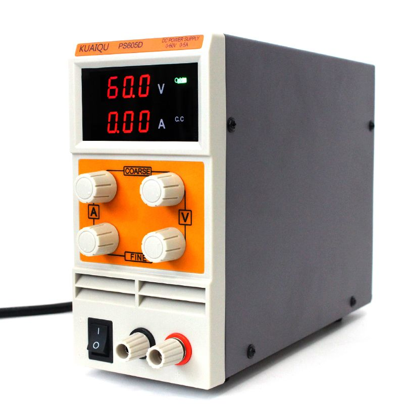 KUAIQU mini DC Power Supply,Switching laboratory power supply, Digital Variable Adjustable power supply 0-60V 0-5A PS605D