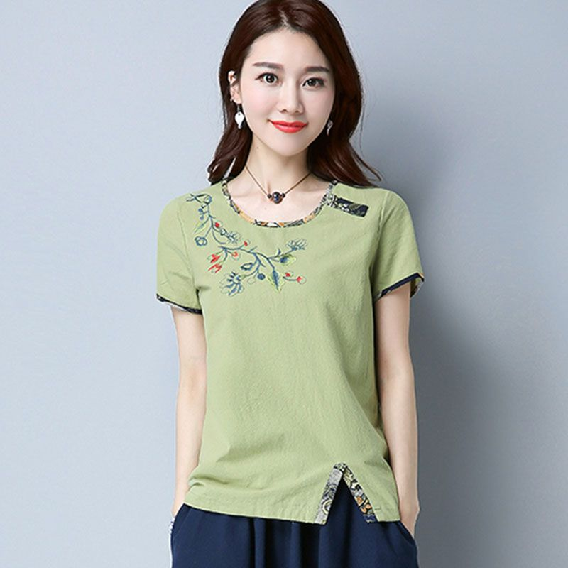 Linen Cotton Jacket Woman Summer Slim National Style Embroidery Retro Women's Clothes All Over Cotton Linen Short Sleeve T-shirt