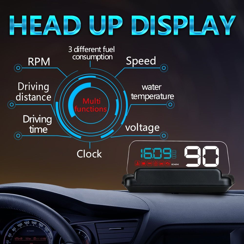 XYCING C500 HD Projector Head Up Display Digital Speedometer Car HUD OBD2 Windshield Projector Stereo Imaging 8 Display Mode HUD