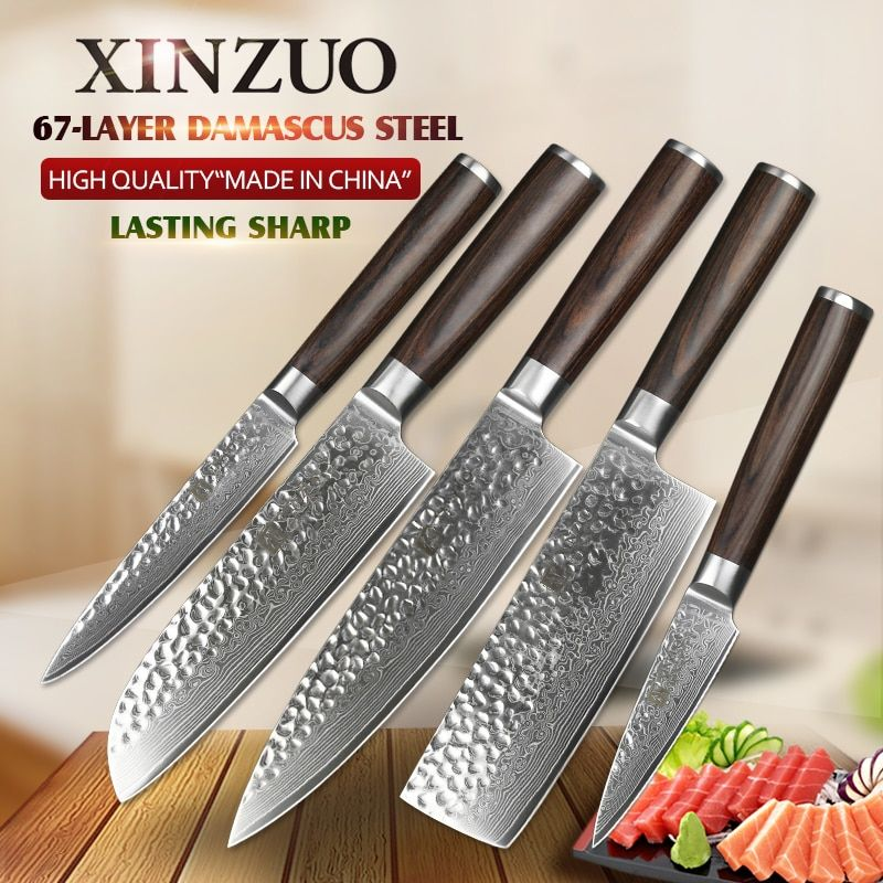 XINZUO 5PCS Kitchen Knives Set Japanese Damascus Knives Stainless Steel Kitchen Knife Cleaver Nakiri Chef Knife Pakkawood Handle