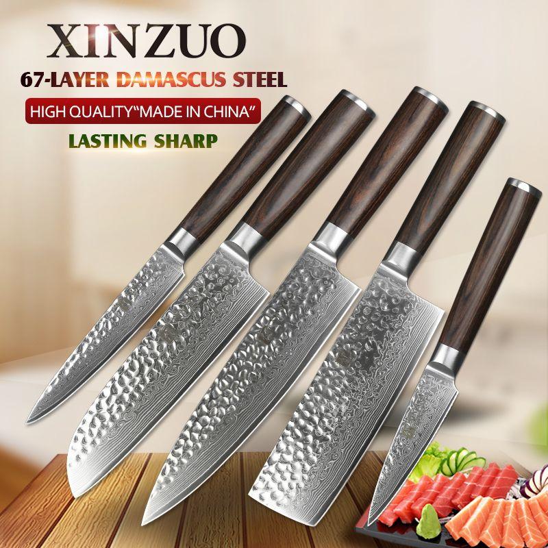XINZUO 5PCS Kitchen Knives Set Japanese Damascus Knives Stainless Steel Kitchen Knife Cleaver Nakiri Chef Knife Pakkawood Handle