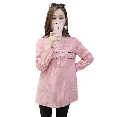 Cotton Shirts for Pregnant Women Spring Long Sleeve Pregnancy Tops&Blouses Fashion Striped Maternity Clothes Casual Autumn C323