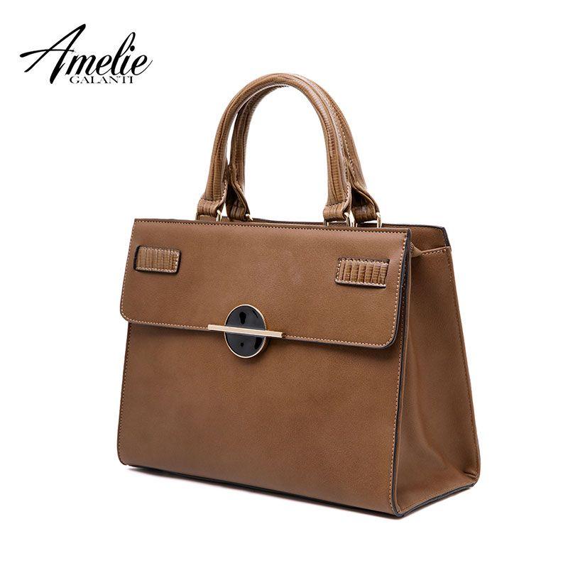 AMELIE GALANTI Damen Mode Handtasche Solide Hard Boston Crossbody frauen Tasche mit Innen Handy Tasche PU Leder Tasche