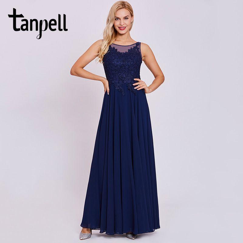 Tanpell long formal evening dress dark royal blue sleeveless floor length a line gown women scoop lace appliques evening dresses