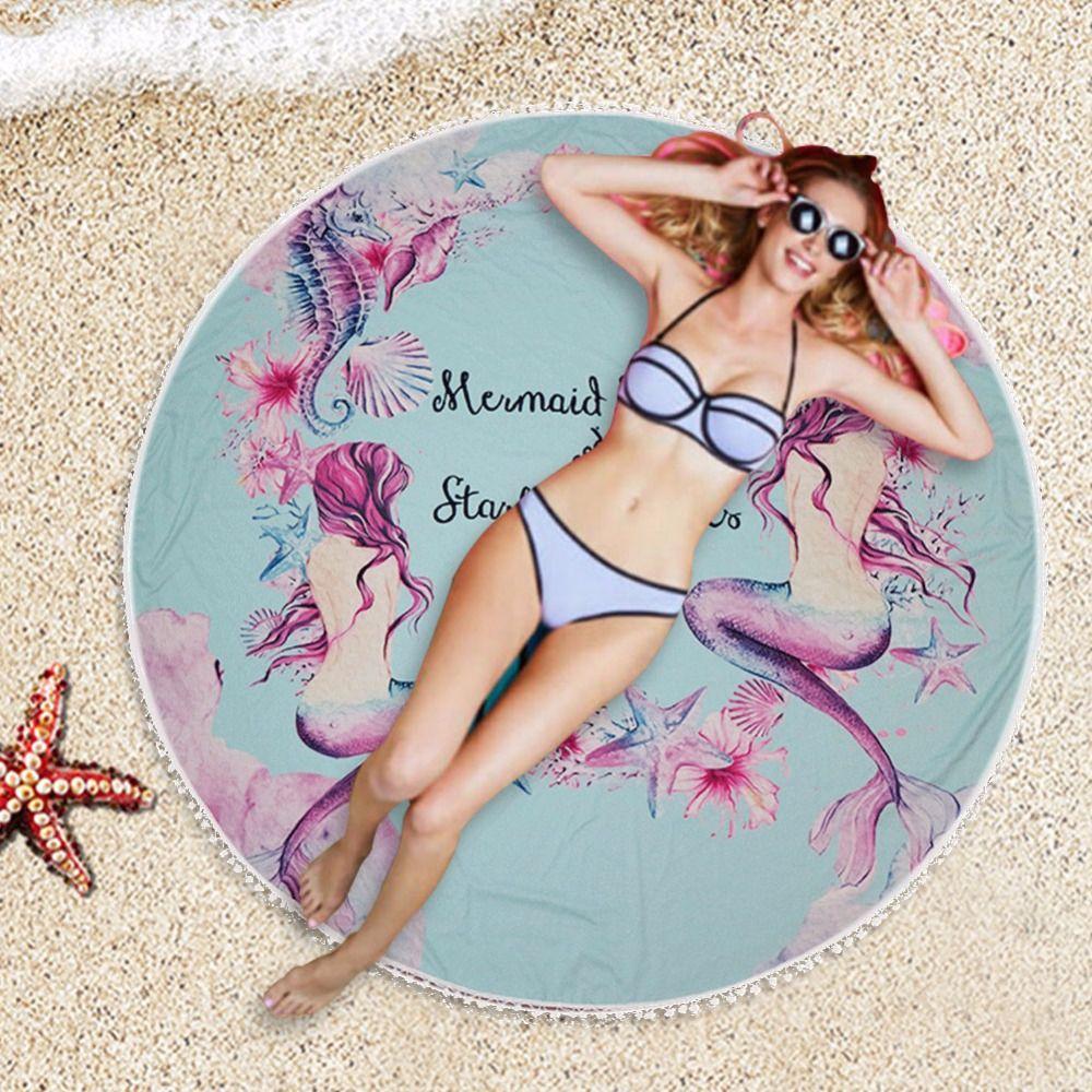 146 cm Sirène Ronde Serviette De Plage avec Gland Femmes Tapis De Yoga Couverture Grand De Refroidissement Piscine Serviette de Bain