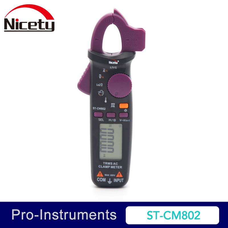 Nicety ST-CM802 True RMS 6000 Counts Digital AC DC Clamp Meter Measure Resistance Temerature Frequence Mini Clamp meter OD