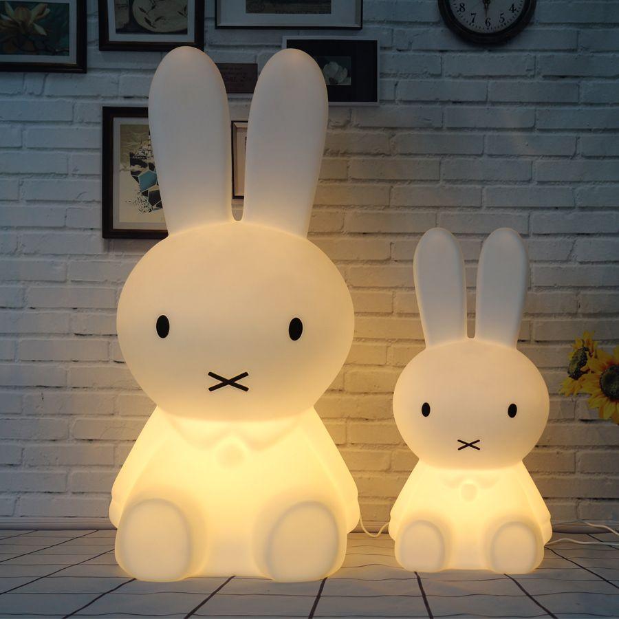 Conejo Luz de La Noche Llevó La Lámpara de Dimmable para Bebé Niños de Regalo Animal de la Historieta Decorativa lámpara de Noche Dormitorio Sala de estar 50 CM/80 CM