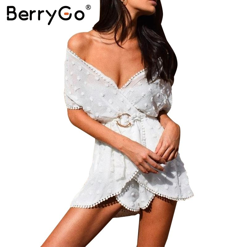 BerryGo Perspective white chiffon jumpsuit romper women Sexy deep v neck sashes party overalls Summer beach streetwear playsuits