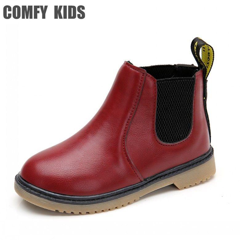 CÓMODA NIÑOS Invierno Pu Botas de Cuero Zapatos de Los Niños de Algodón de Felpa niñas Botas Zapatos de Moda Plana Con Niños Niñas Martin Botas zapatos