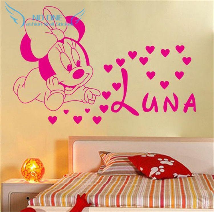 Livraison gratuite décoration de maison bricolage créatif mignon Mickey Mouse Minnie bébé personnalisé enfants nom bébé pour enfants chambres stickers muraux