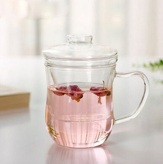 1PC 350ml tea cup heat resistant thickened glass cup with cover transparent filter three cup of water glass cup JN 1026