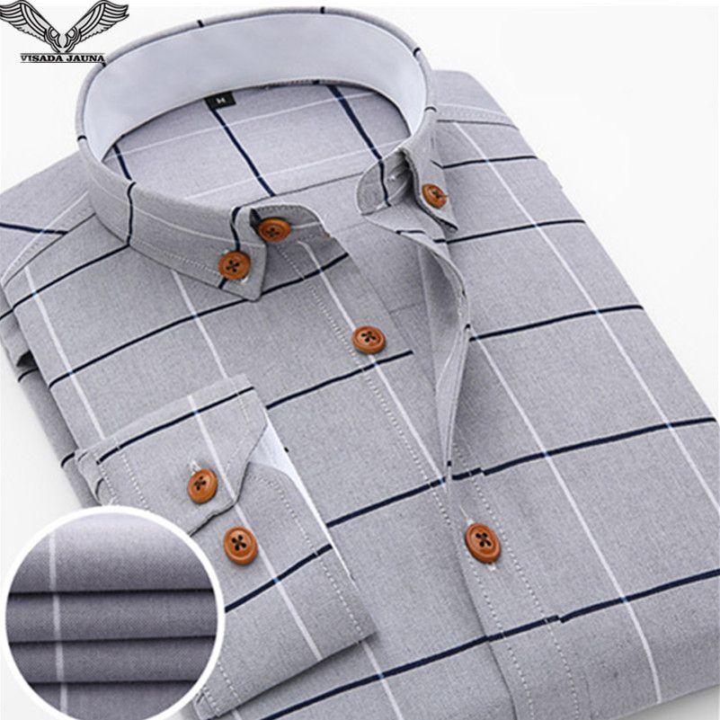 VISADA JAUNA 2017 New Arrival Men Shirt Casual Long Sleeve Plaid Formal Brand Clothing Business Shirts Man Chemise Homme N131