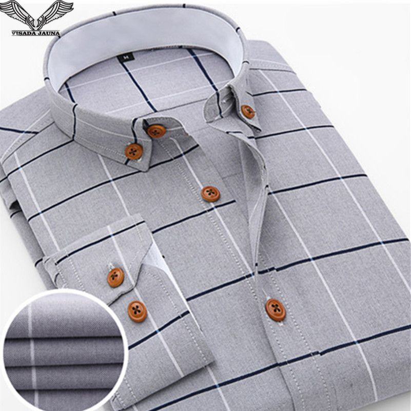 VISADA JAUNA 2017 New Arrival Men Shirt Casual Long Sleeve Plaid Formal Brand Clothing Business Shirts Man Chemise Homme N131