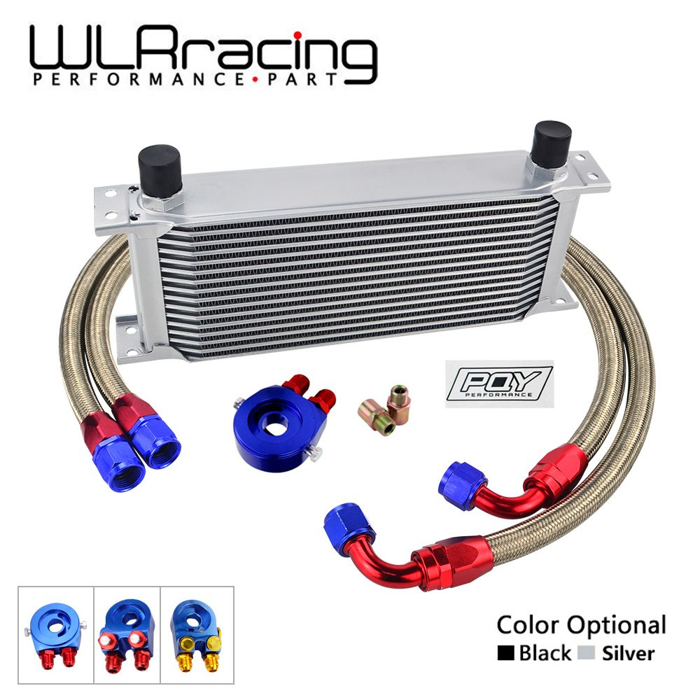 WLR- UNIVERSAL 16 ROWS OIL COOLER+OIL FILTER SANDWICH ADAPTER + SS NYLON STAINLESS STEEL BRAIDED AN10 HOSE WITH PQY STICKER+BOX