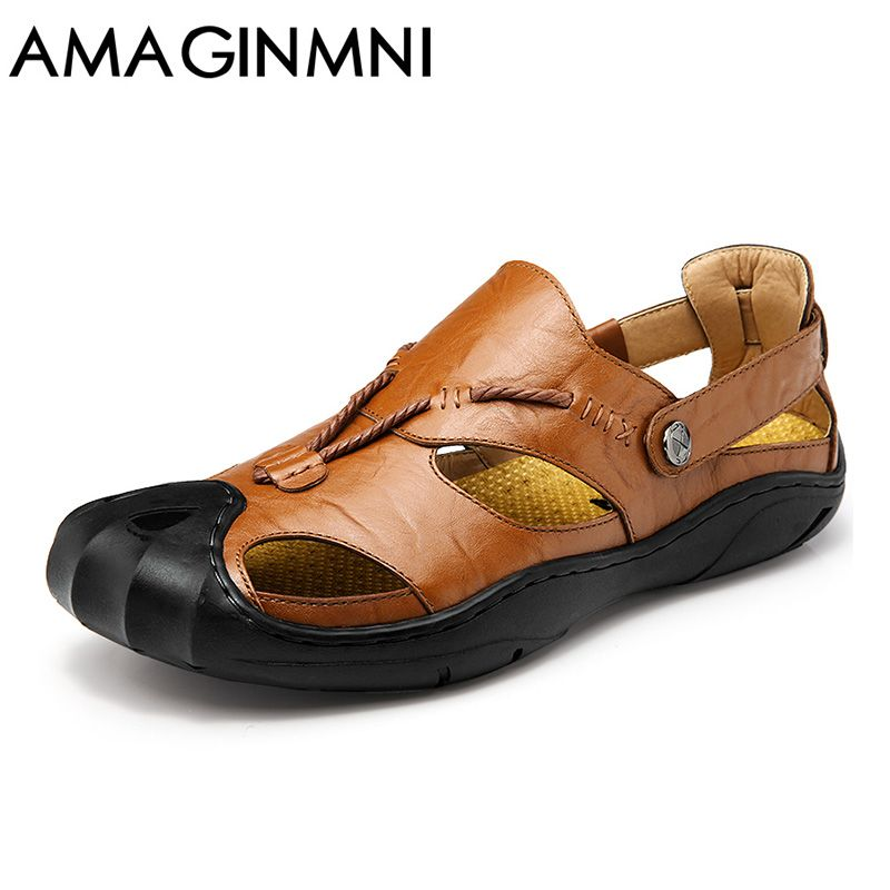 AMAGINMNI genuine leather men sandals summer cow leather new for beach male shoes mens gladiator sandal leather sandals 38-46