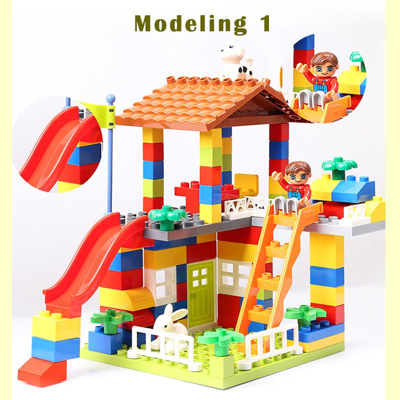 89pcs DIY Colorful <font><b>City</b></font> House Roof Big Particle Building Blocks Castle Educational Toy For Children Compatible legoe duplo slide