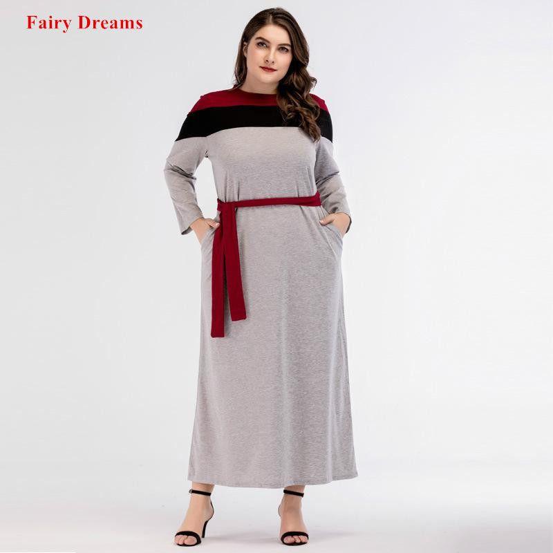 Muslim Abayas Women Kaftan Autumn Spring Cotton Long Bandage Dress Turkey Turkish Dubai Islamic Clothes Malaysia Plus Size Robe