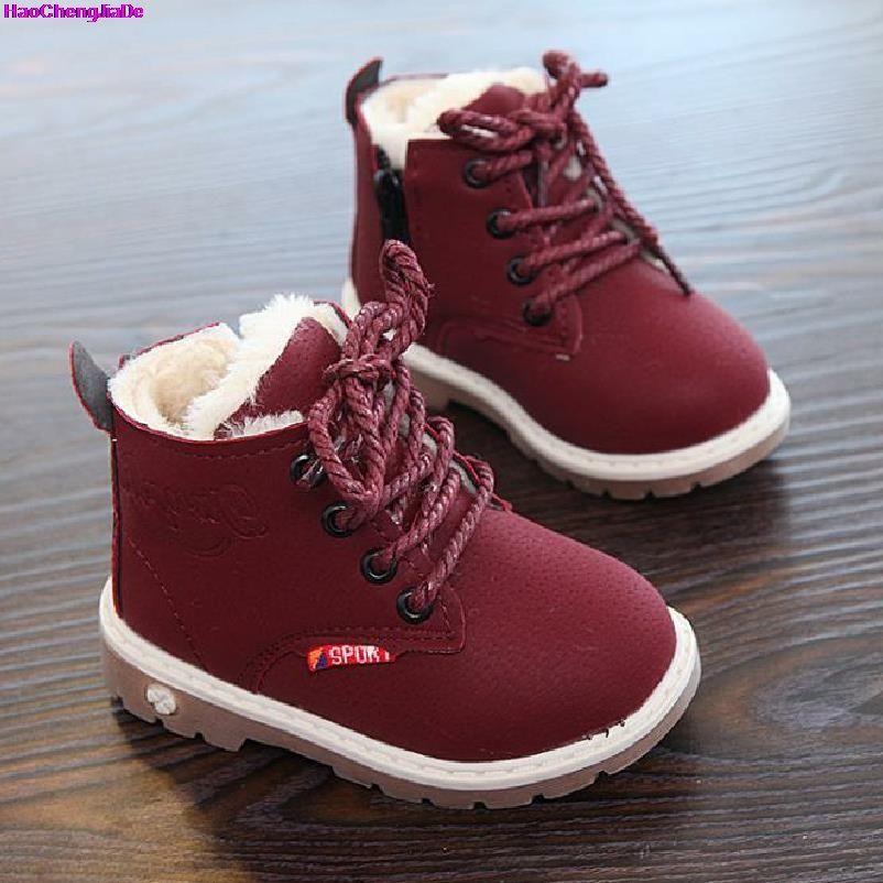 HaoChengJiaDe 2018 nouvel hiver pour enfant enfant fille garçon bottes de neige confort épais antidérapant bottes courtes mode coton-rembourré chaussures