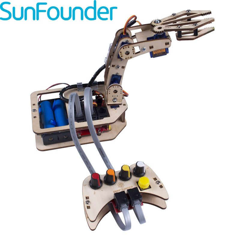 SunFounder Programmable Toys DIY 4-Axis Wooden Servo Control Robotic Kits Rollarm Robot Toys For Arduino
