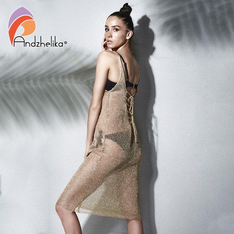 Andzhelika Bikini Vertuschung Badebekleidung 2018 Frauen Metall Gestrickter Strand Badeanzug Vertuschen Hohl Sexy badeanzug Cover up AK1920