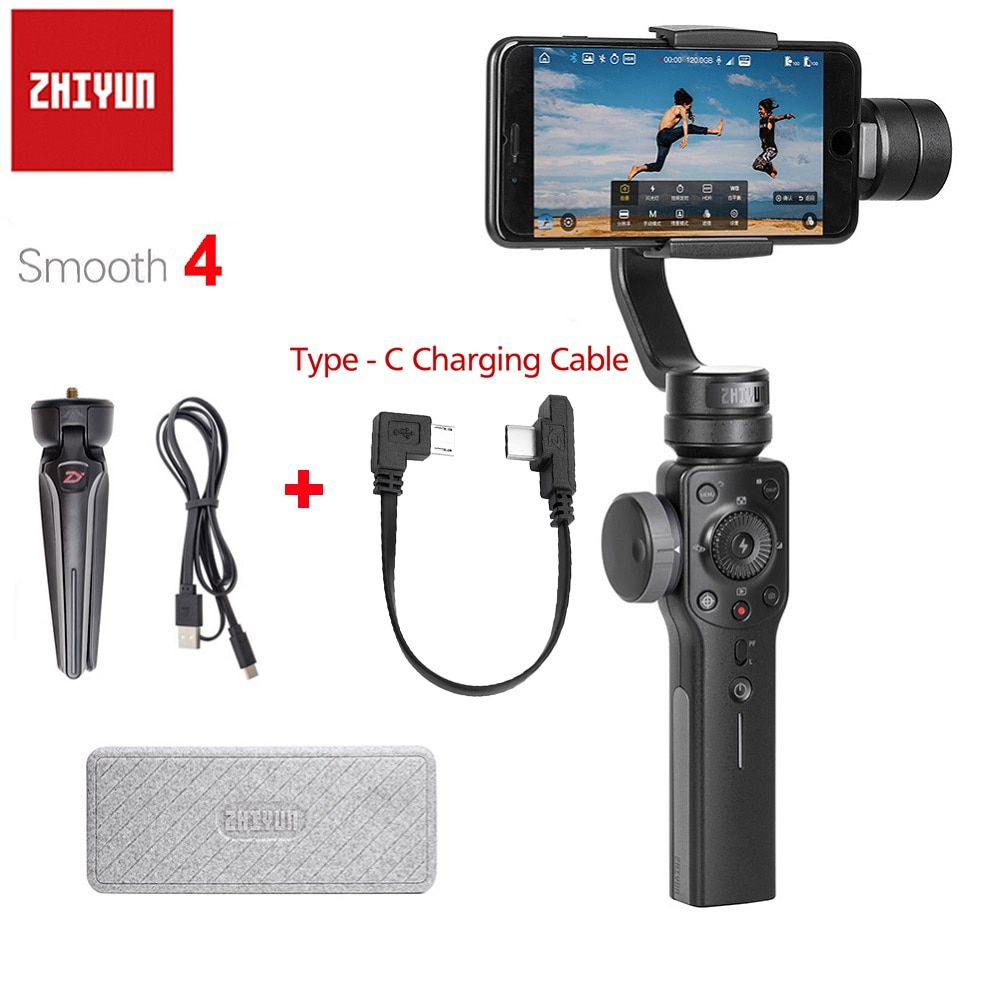 Zhiyun Smooth 4 3-Axis Handheld Gimbal Stabilizer for Smartphone iPhone X 8P 8 7 7P 6S SE Samsung S9 S8 S7 with Charging Cable