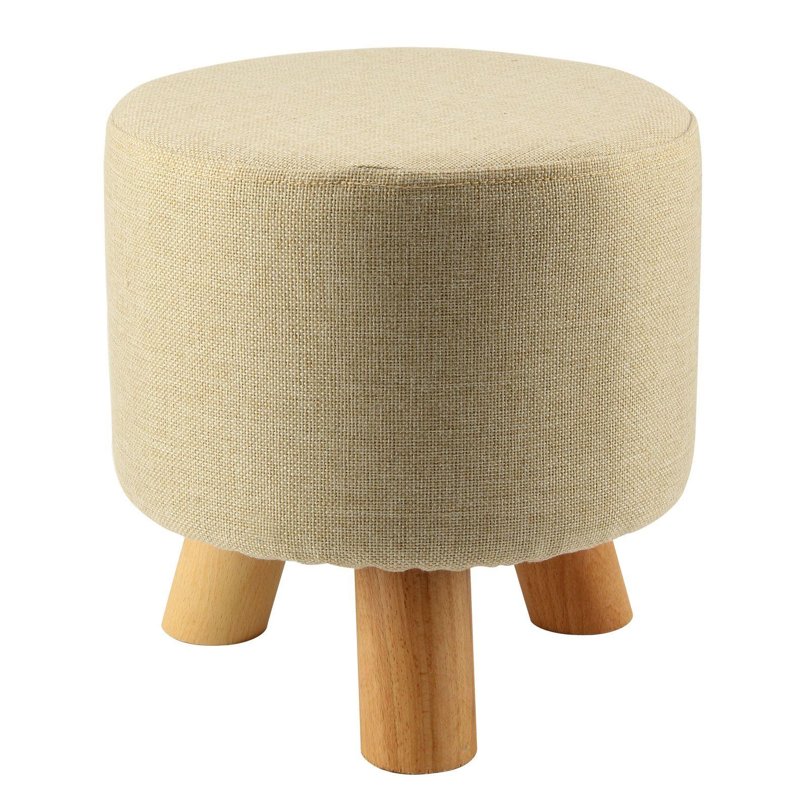 Modern Luxury Upholstered Footstool Round Pouffe Stool + Wooden Leg Pattern:Round Fabric:Grey(3 Legs)