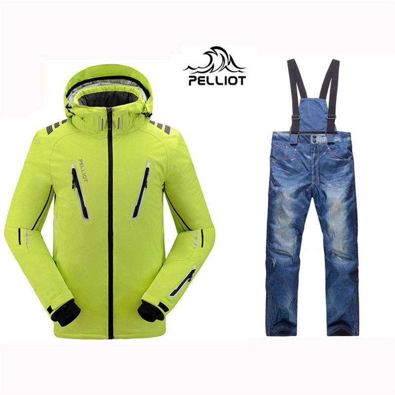 2018 Pelliot Männlichen Ski Anzüge Jacke + hosen männer, atmungsaktiv Thermische Cottom gepolsterte Snowboard Anzug Männer Skifahren anzug Freies verschiffen