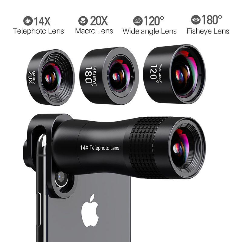 Objectif téléphone 20X objectifs Macro 14X téléobjectif grand Angle Fisheye objectif pour iPhone Xs Max X 8 7 pour Huawei Piexl 2 pour Samsung