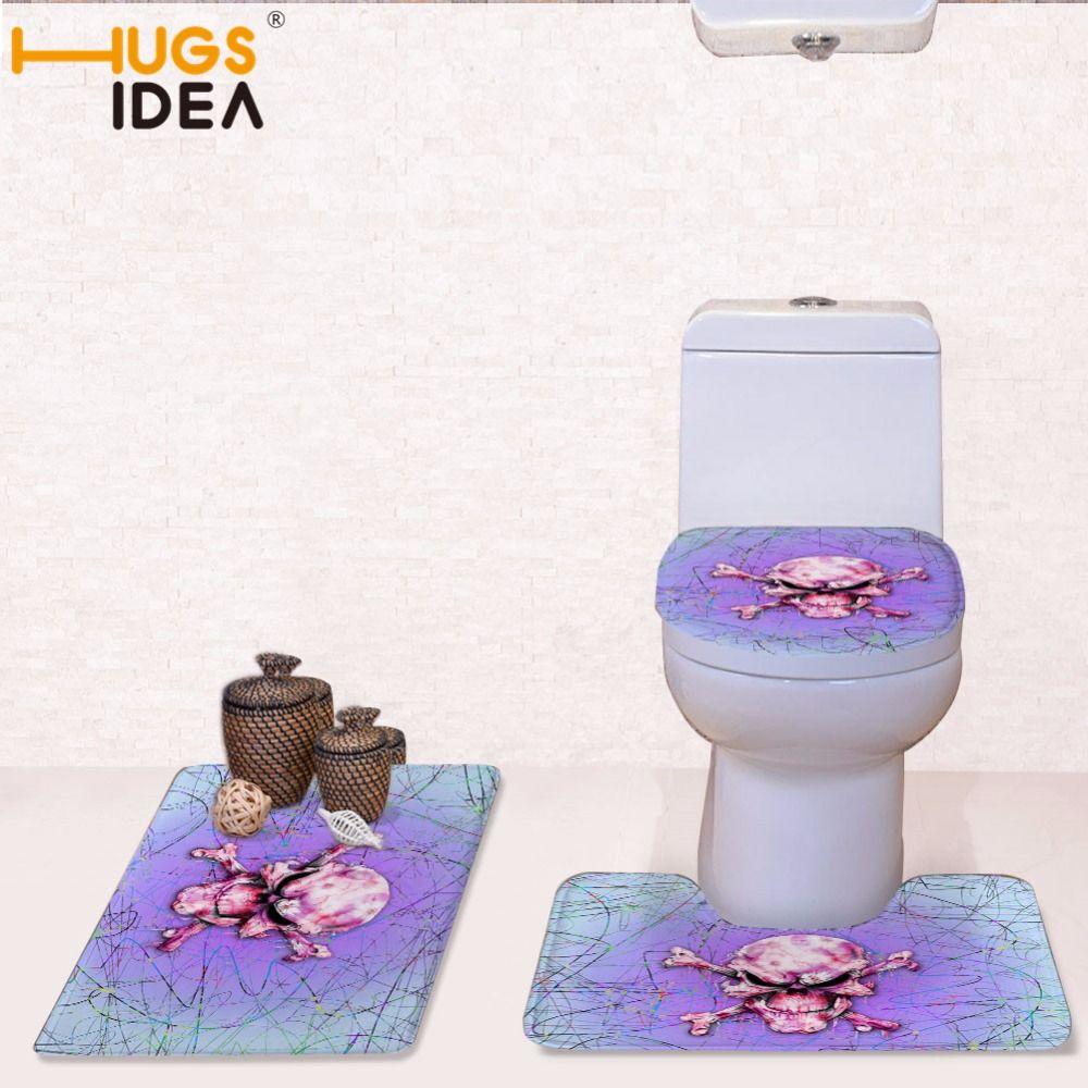 HUGSIDEA Farbe Schädel Drucken Bad Wc Sitzbezug Flanell Overcoat Kulturtaschen dreiteilige Set WC Kontur Matte Anti rutschfeste Teppich