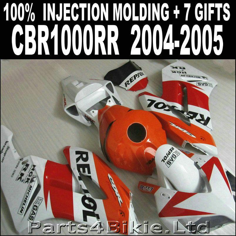 Hochwertige teile für HONDA cbr1000rr 2004 2005 verkleidungen rot orange weiß schwarz verkleidung CBR 1000 RR 04 05 7 geschenke WBJ86