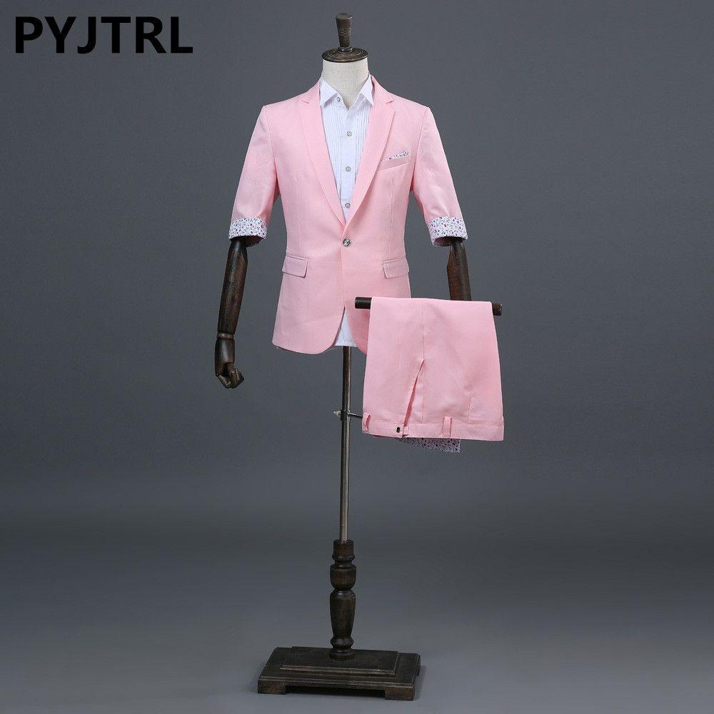 PYJTRL Men's Fashion Summer Half Sleeve Pink Sky Blue Green Wedding Suits With Shorts Stage Singer Youth Men Tide Costume Homme