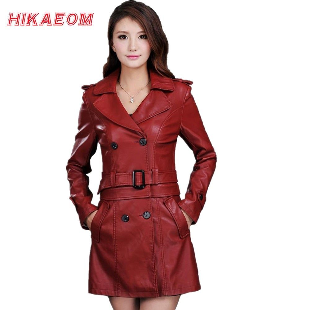 Leather Jacket Women Top Fashion New Plus Size Slim Dual Use Pu Removable Ladies Faux Synthetic Long Leather Trench Coat Female