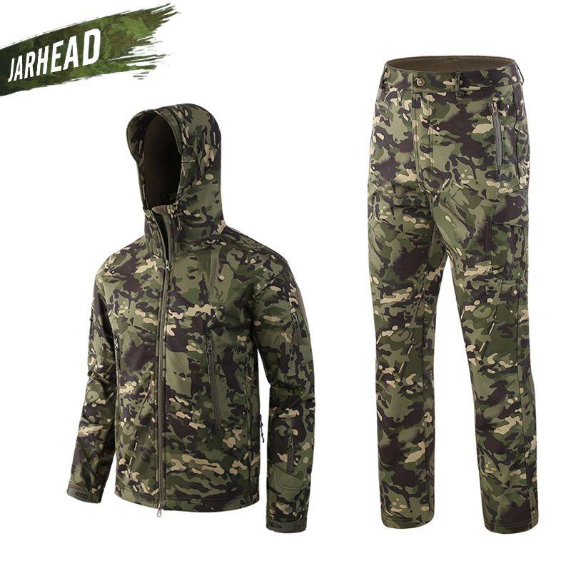 Outdoor Sport Camouflage Jagd Tuch Männer Shark Haut Soft Shell Mantel Lurker TAD V4 Taktische Militär Frühjahr Jacke + Hosen anzüge