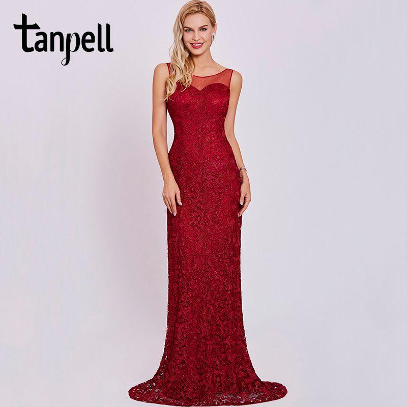 Tanpell scoop neck evening dress burgundy sleeveless sheath floor length gown women lace appliques formal long evening dresses