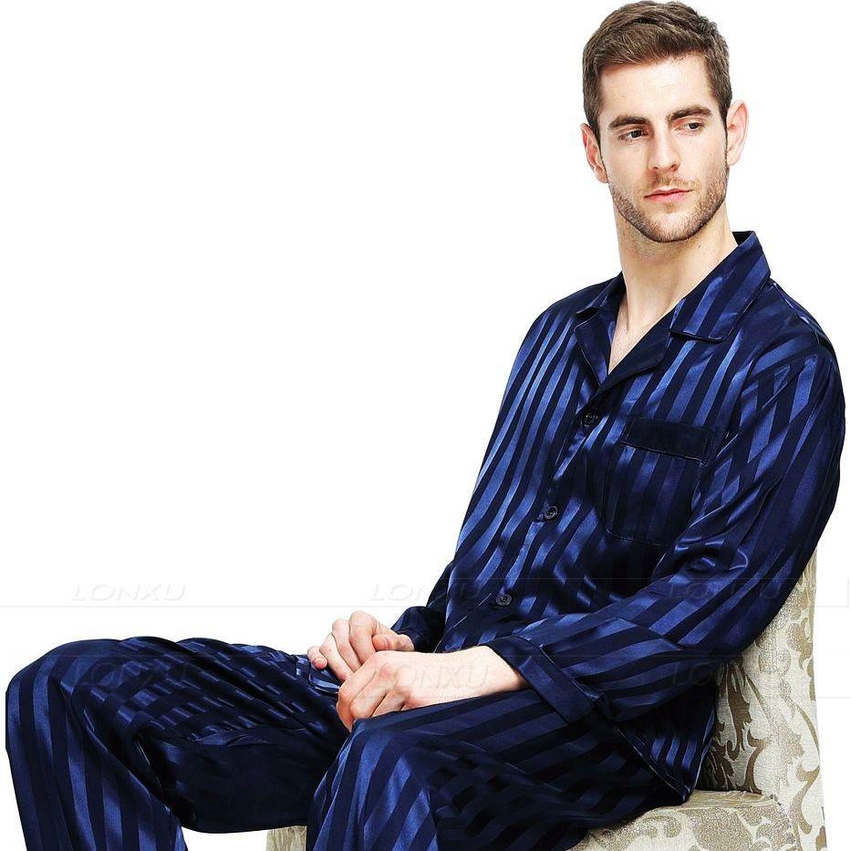 Hommes Satin De Soie Pyjamas Set Pyjama Pyjamas Set PYJAMA de Nuit Mis Détente USS, M, L, XL, 2XL, 3XLL, 4XL Plus Rayé