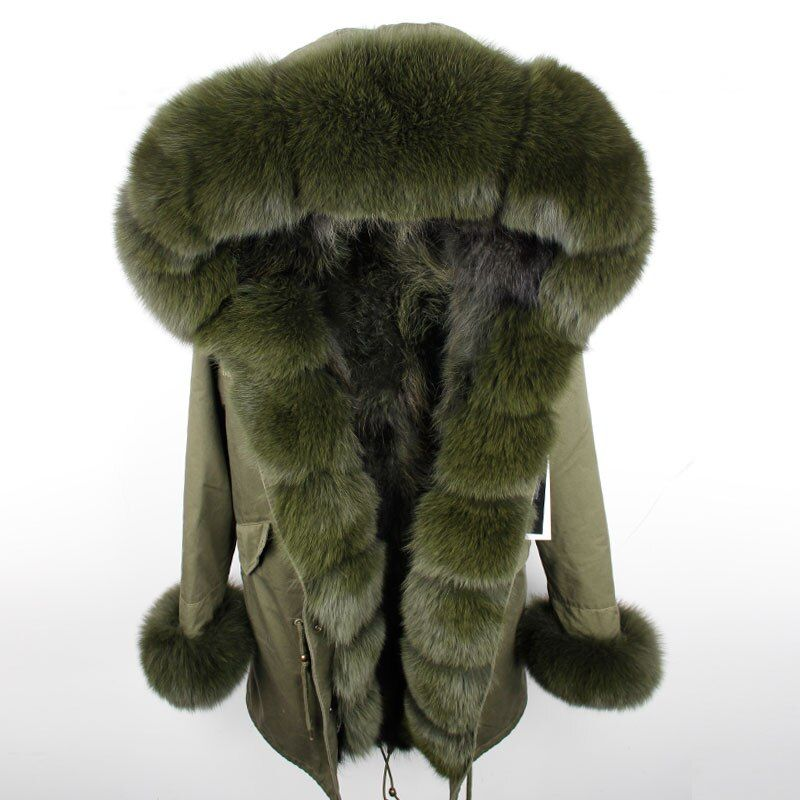 Maomaokong 2018 NEUE Frauen Winter Lange Jacke Warme Mode Fuchs Pelz Kragen Mit Waschbären Pelz Liner Parka Mäntel