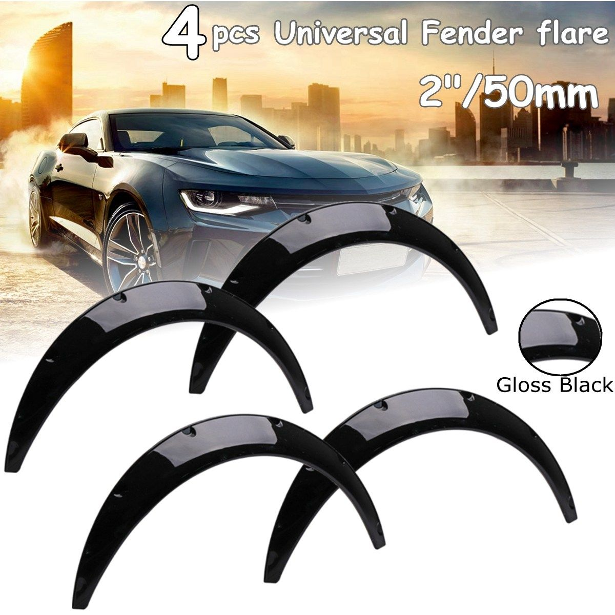 4Pcs 2inch Universal Gloss Black Flexible Car Body For Fender Flares Extension Wide Wheel Arches