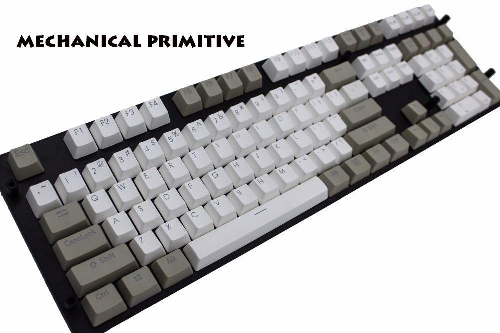 MP rétro Keycap PBT blanc et gris Double coup rétro-éclairé Cherry MX commutateur pour NOPPOO/Ducky/Filco filaire USB clavier mécanique