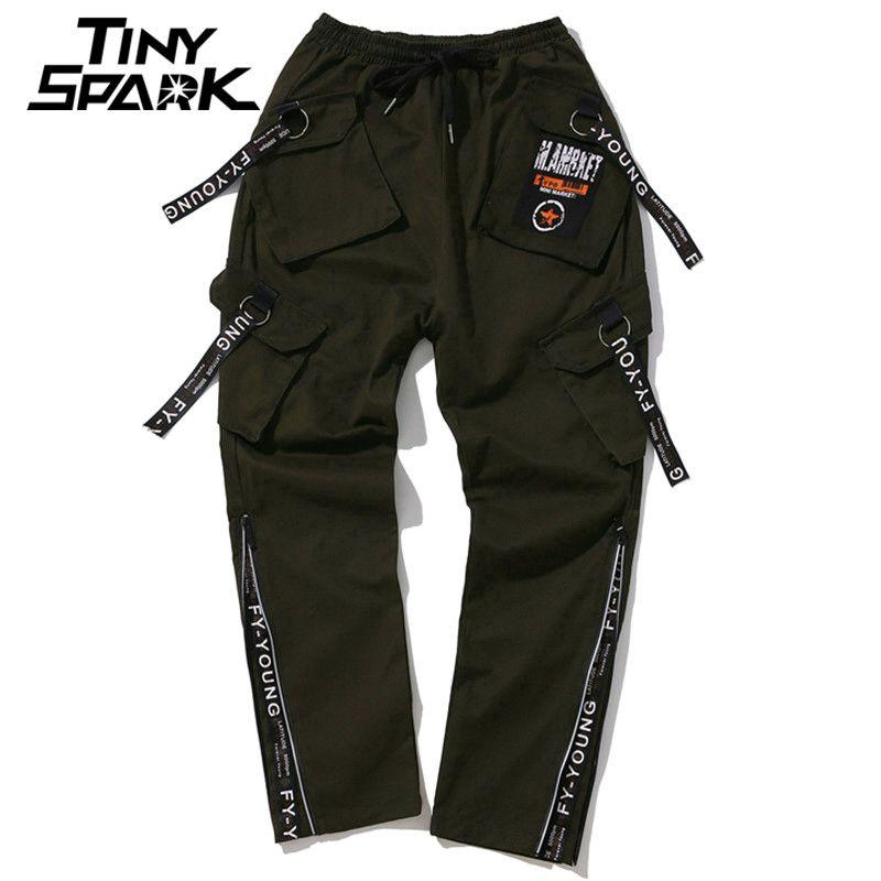 Armee Grün Hose Seitlichem Reißverschluss Swag Multi Pocket Hose Lässig männer Harajuku Street Hose Jungen Hosen Männer Kleidung High Street neue