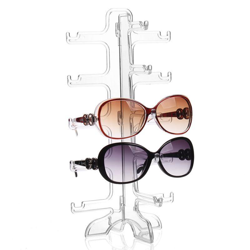 Moda práctico claro 5 pares soporte de vidrio sunglass holder Gafas estante organizador Gafas de sol Marcos estante