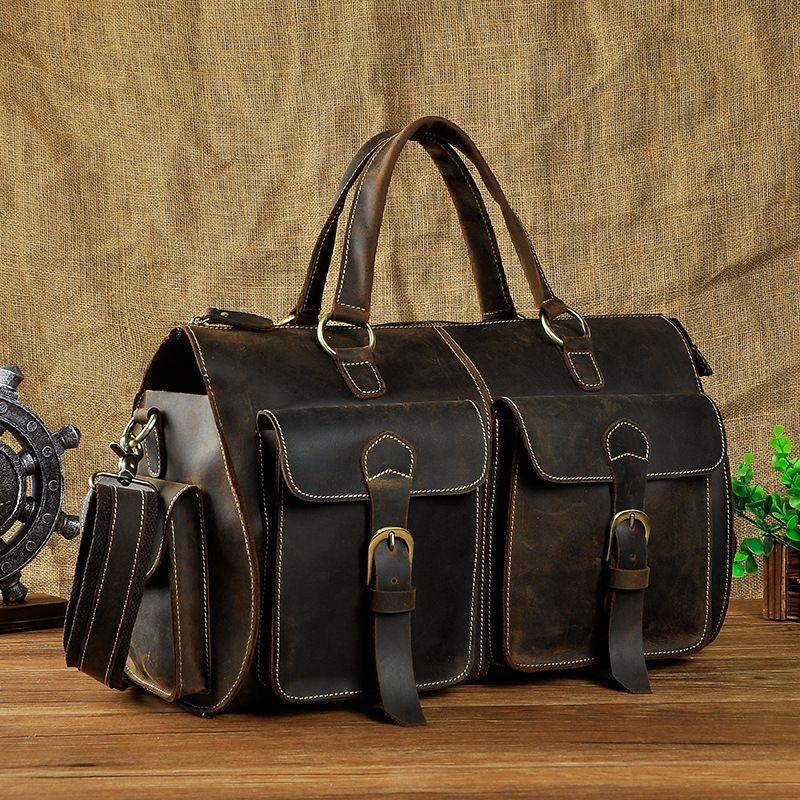 LAPOE Multi-Function Full Grain Genuine Leather Travel Bag Men's Leather Luggage Travel Bag Duffle Bag Large Tote Weekend Bag