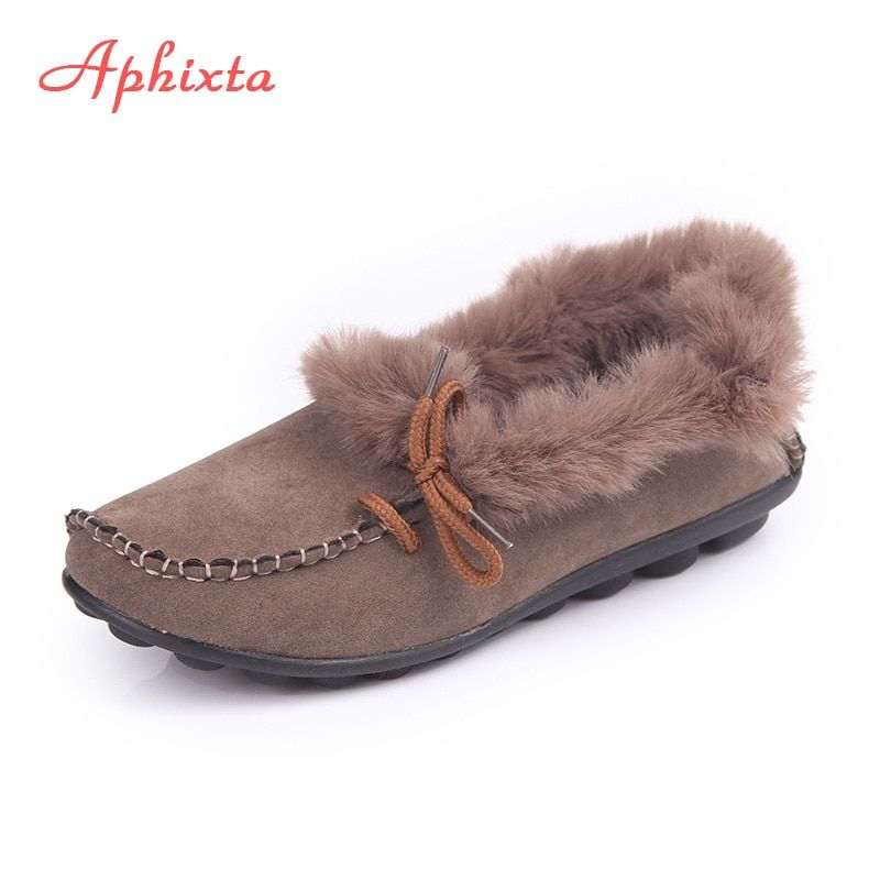 Aphixta Loafers Women Flats Heel Shoes Warm Fur Winter Round Toe Female Ladies Casual  Slip On zapatos de mujer Shoes Plus Size