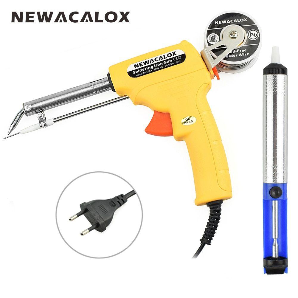NEWACALOX <font><b>220V</b></font> 60W EU Automatic Send Tin Gun Electric Soldering Iron Rework Station Desoldering Pump Welding Tool Solder Wire