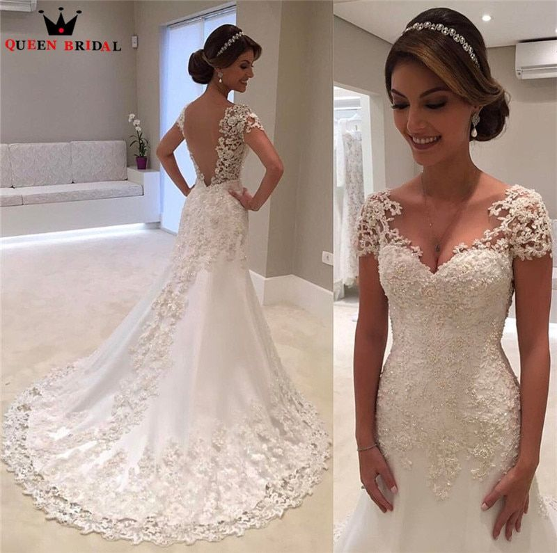 High Quality New Fashion 2018 Mermaid Lace Beaded Backless Sexy Vintage Wedding Dresses Formal Bridal Gowns Custom Size WD45
