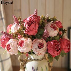 Luyue 13 Rama/ramo flores artificiales peonía vívida flores artificiales falso de seda Rosa nupcial decoración de la boda guirnalda glándula hogar
