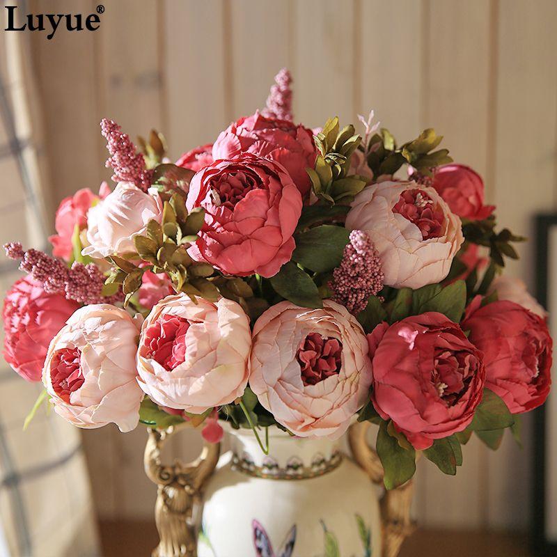 Luyue 13 branche/Bouquet fleurs artificielles pivoine vives flores artificiales faux soie Rose nuptiale décor de mariage couronne gland maison