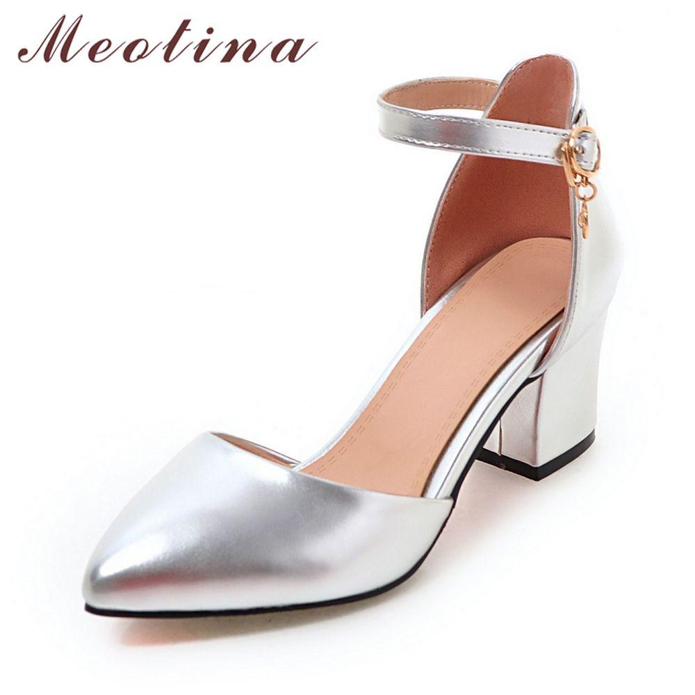 Meotina chaussures femme 2018 nouveaux talons hauts printemps dames pompes été deux pièces talons épais chaussures cheville sangle chaussures argent 34-43