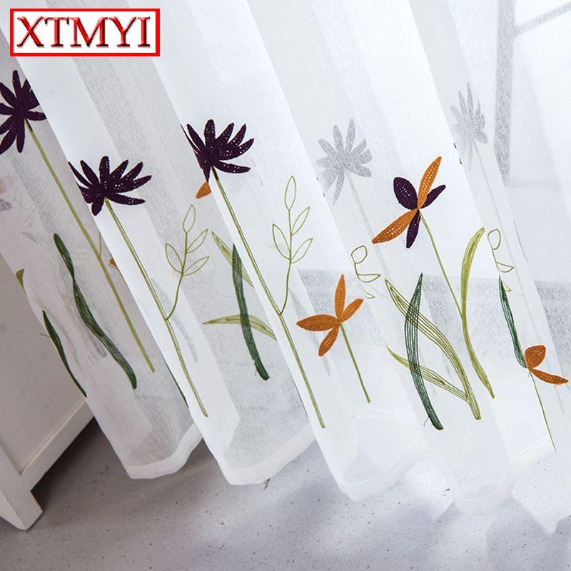 2018 nouveau blanc brodé tulle rideaux pour salon cuisine rideau fenêtre Custom Made