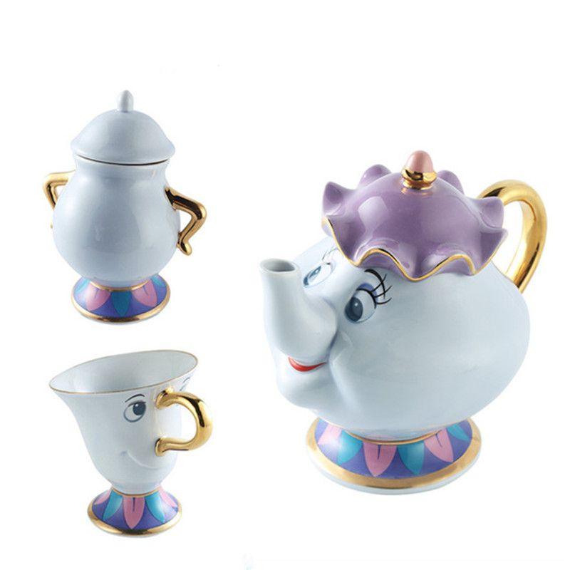 Beauty And The Beast Tea Set Mrs Potts <font><b>Chip</b></font> Teapot Cup Set Lovely Porcelain Coffee Creative Gift [1 Pot + 1 Cup + 1 Sugar Bowl]