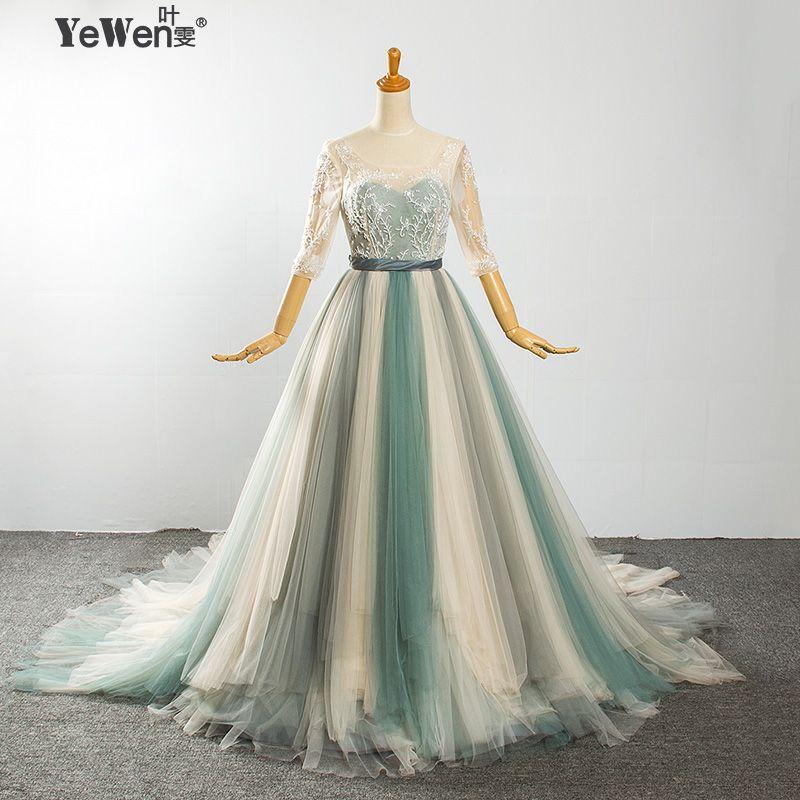 Beach Colorful half Sleeves A-line Backless Crystal Wedding dresses 2018 robe de mariag Wedding Gowns Plus size Vestido de Novia